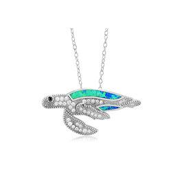CZ Opal Turtle Pendant
