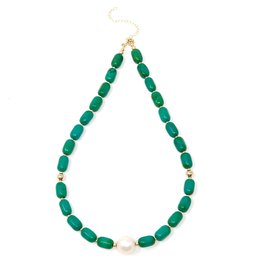 Green Magnesite & Baroque Pearl Necklace