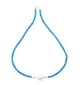 Ocean Magnesite & Baroque Pearl Necklace