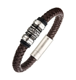 Inox Brown Leather Steel Plated Bead Bracelet