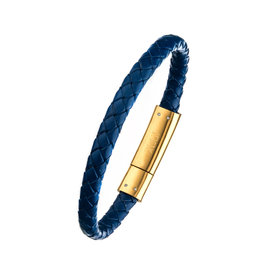 Inox Blue Leather GP Anchor Bracelet