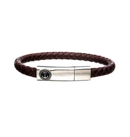 Inox Brown Leather Steel Anchor Bracelet
