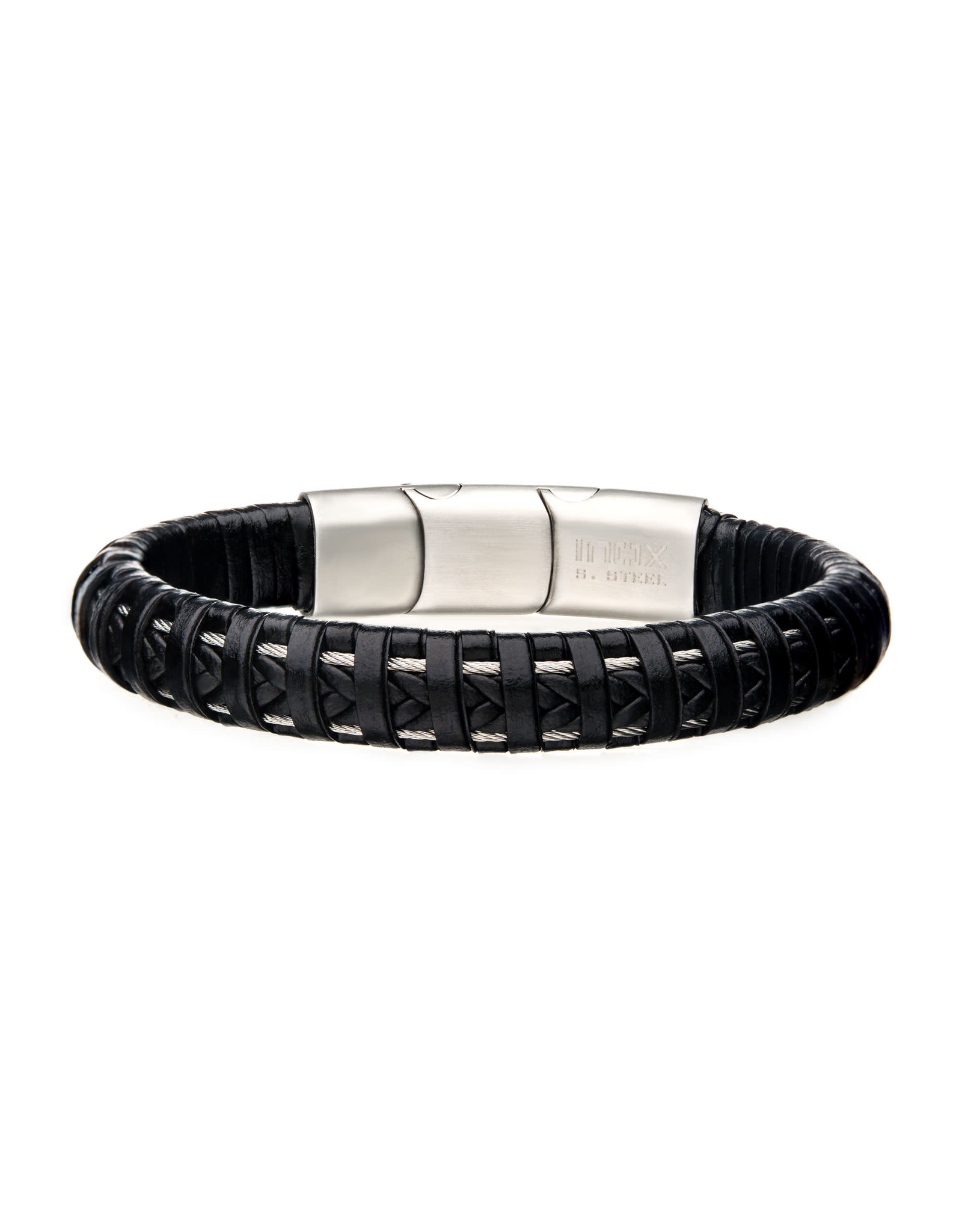 Inox Black Leather Steel Clasp Bracelet
