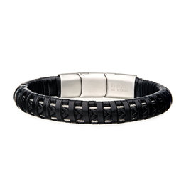 Inox Black Leather Steel Clasp Bracelet