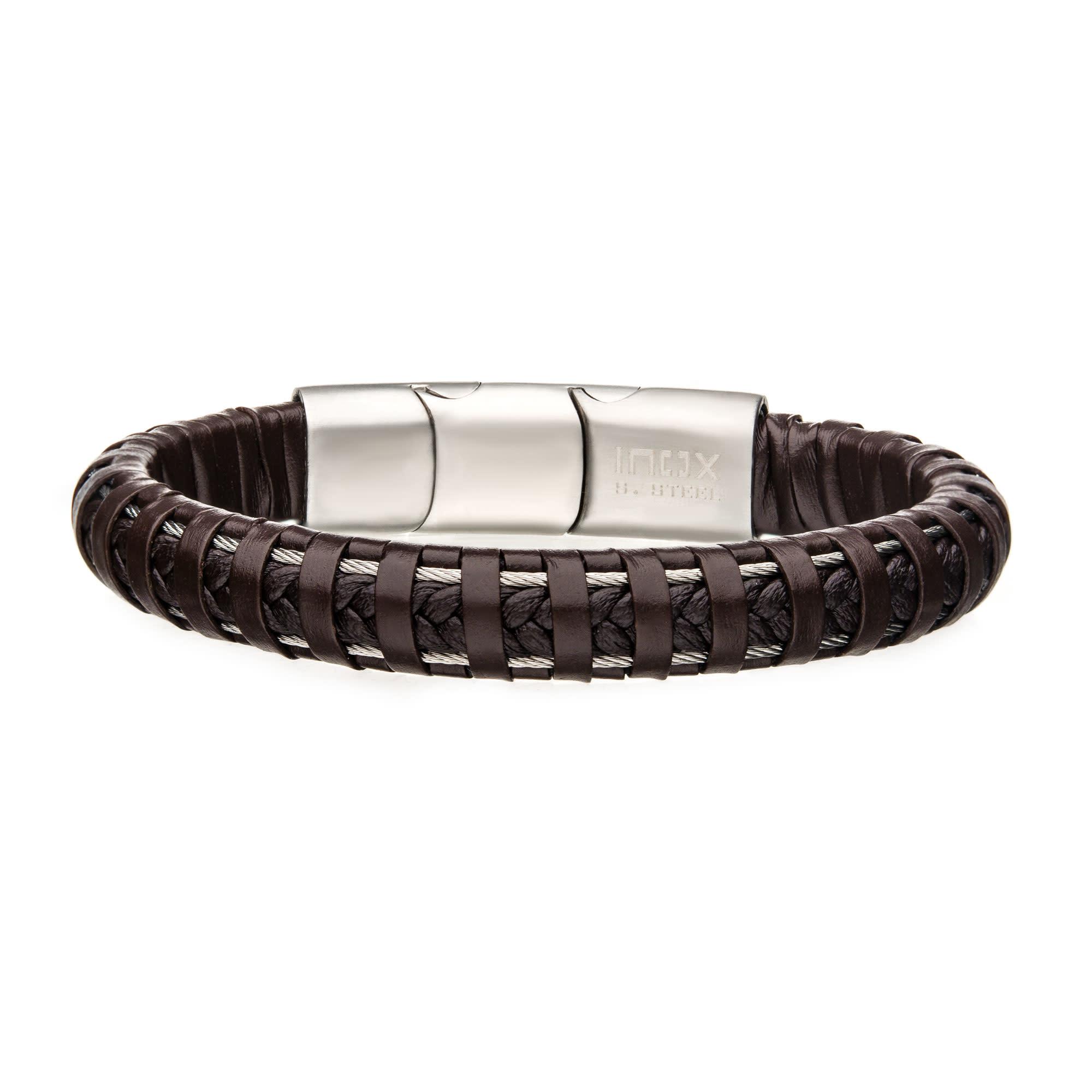 Inox Brown Leather Steel Clasp Bracelet