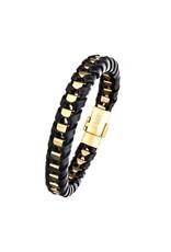 Inox Black Leather GP Braid Bracelet