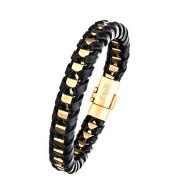 Inox Black Leather GP Braid Bracelet