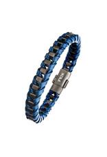 Inox Navy Leather Gun Metal Bracelet
