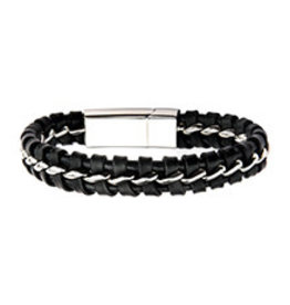 Inox Braided Leather Steel Clasp Bracelet