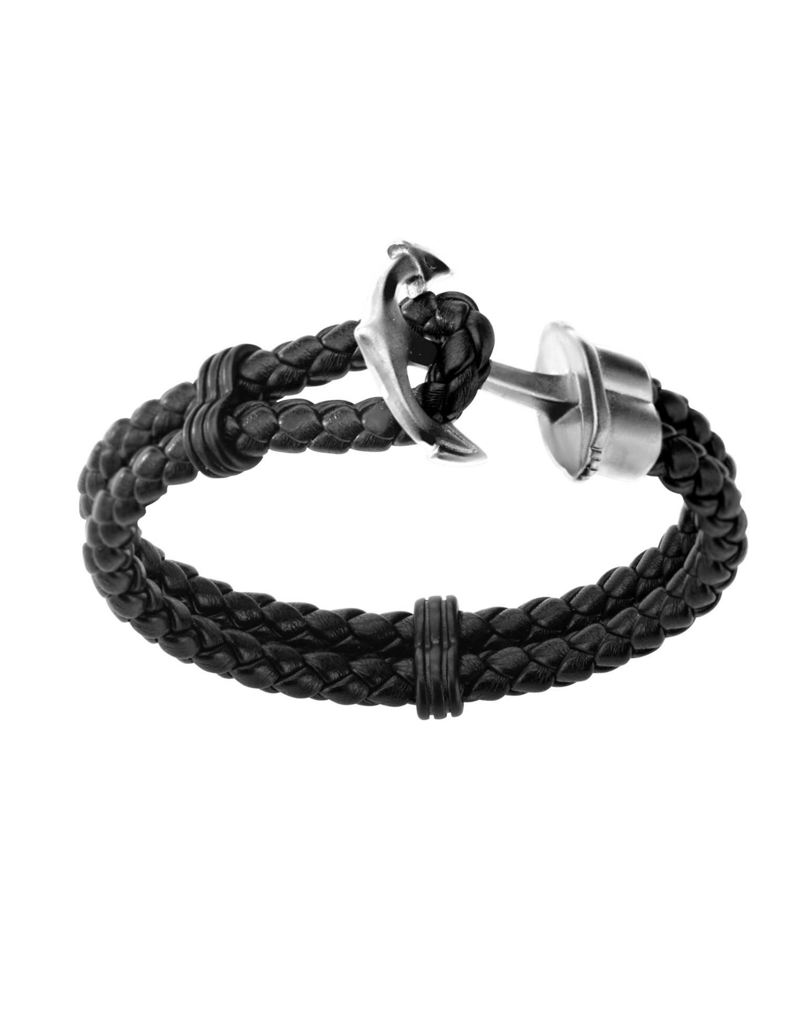 Inox Double Black Braided Leather Steel Anchor
