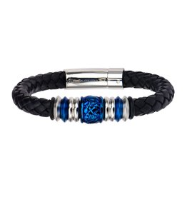 Inox Blue Bead Black Braided Leather Bracelet