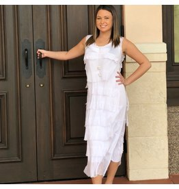 White Flutter Midi Dress
