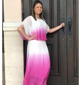 Fuchsia Ombre Silk Skirt