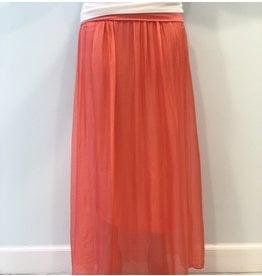 Coral Silk Maxi Skirt