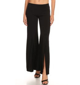 Solid Black Slit Pants