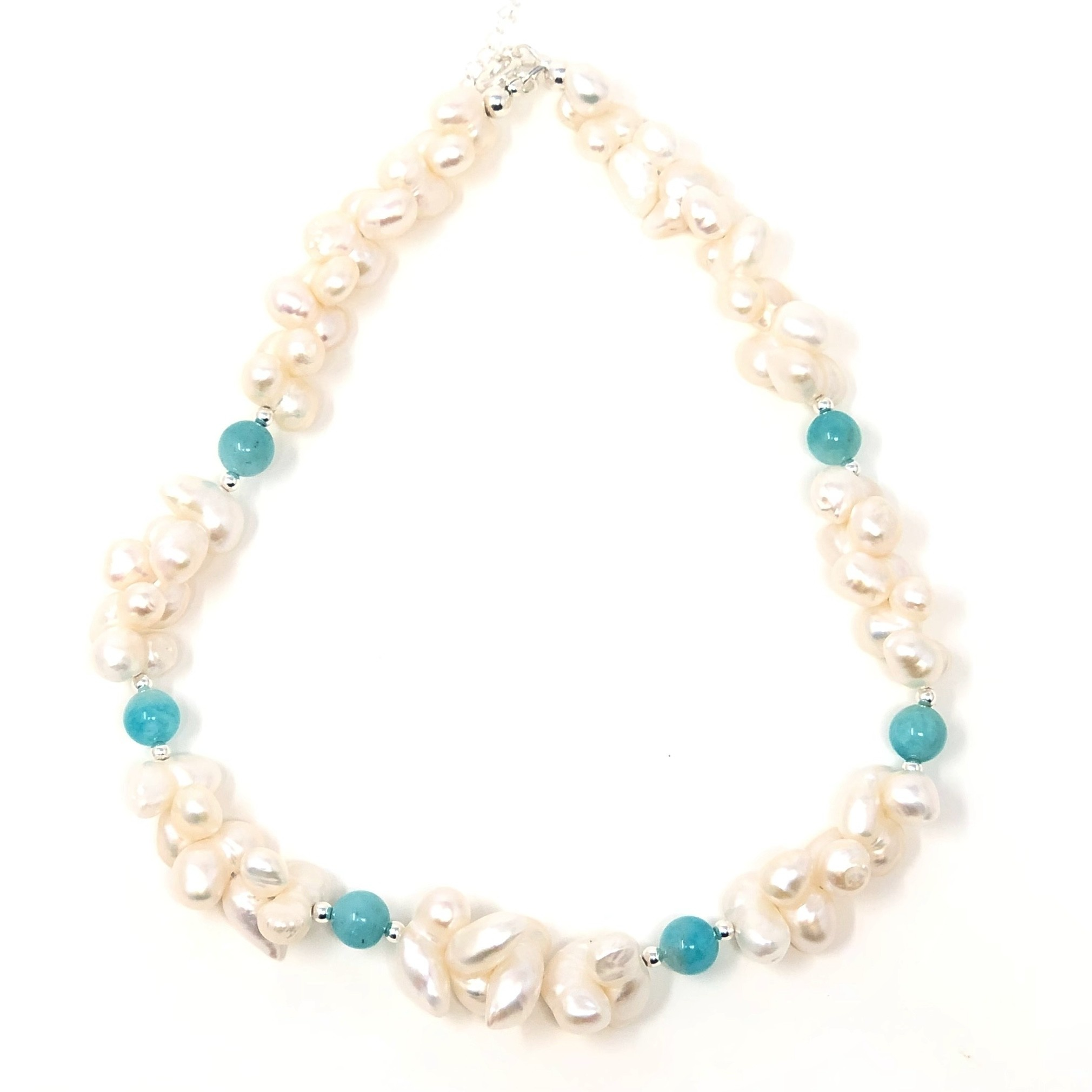 Peruvian Amazonite & Keshi Pearl Necklace