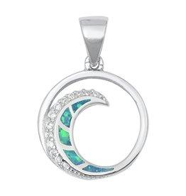 Opal CZ Wave Pendant SM