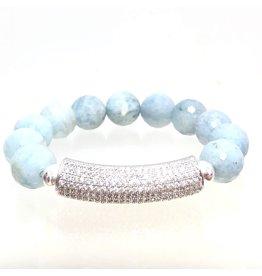 Aquamarine & CZ Bar Bracelet
