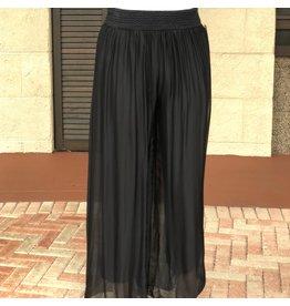 Pura Seta Elastic Black Silk Lined Pants