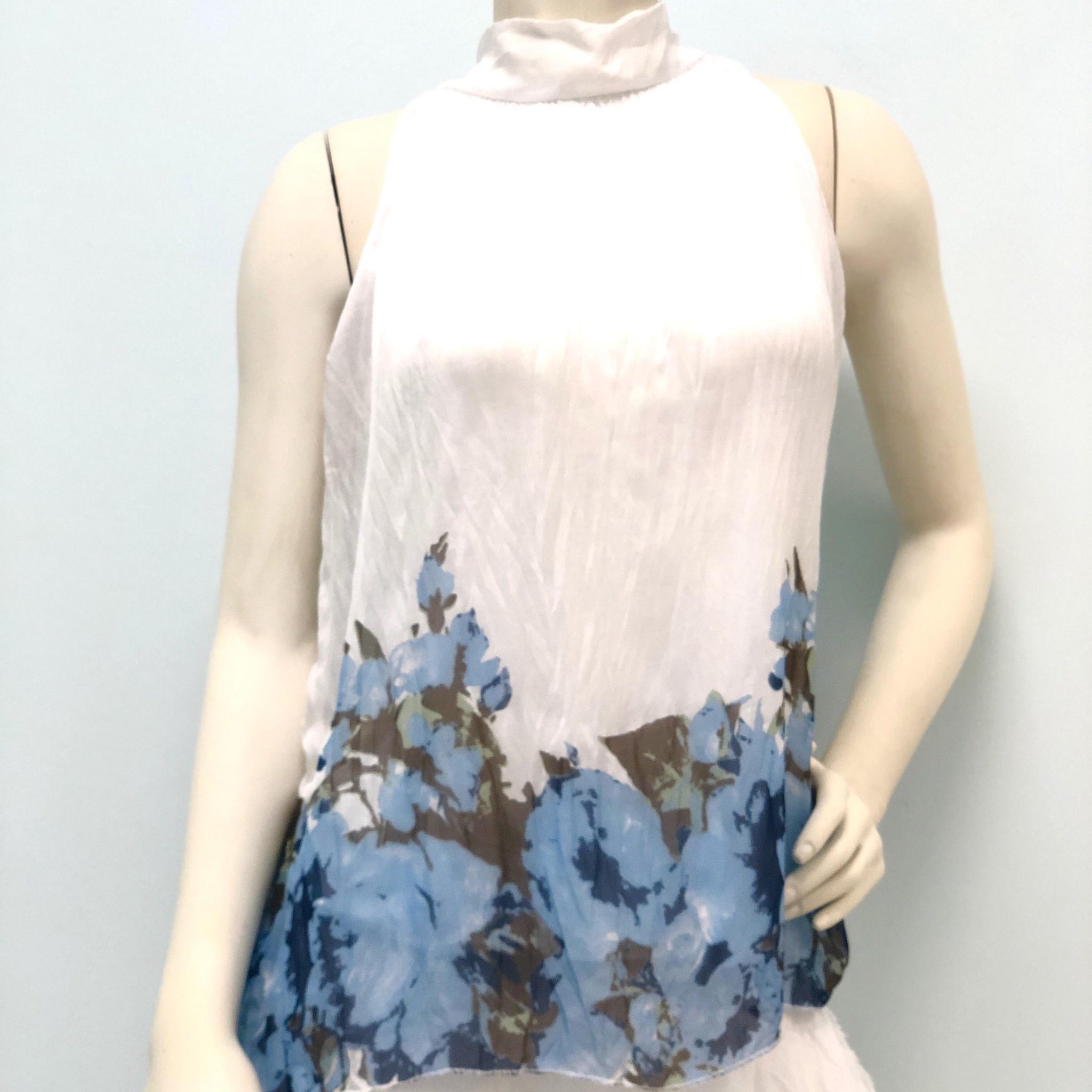 White Floral Silk Halter Tie Top