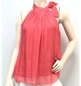Coral Silk Halter Tie Top
