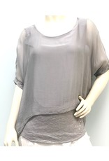 Silver Silk Sequin Layer Top