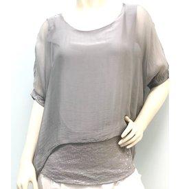 Silver Silk Sequin Layer Top