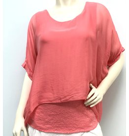 Coral Silk Sequin Layer Top