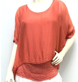 Melon Silk Sequin Layer Top