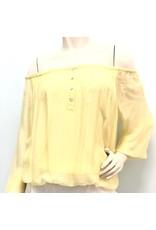 Lemon Off Shoulder Silk Top
