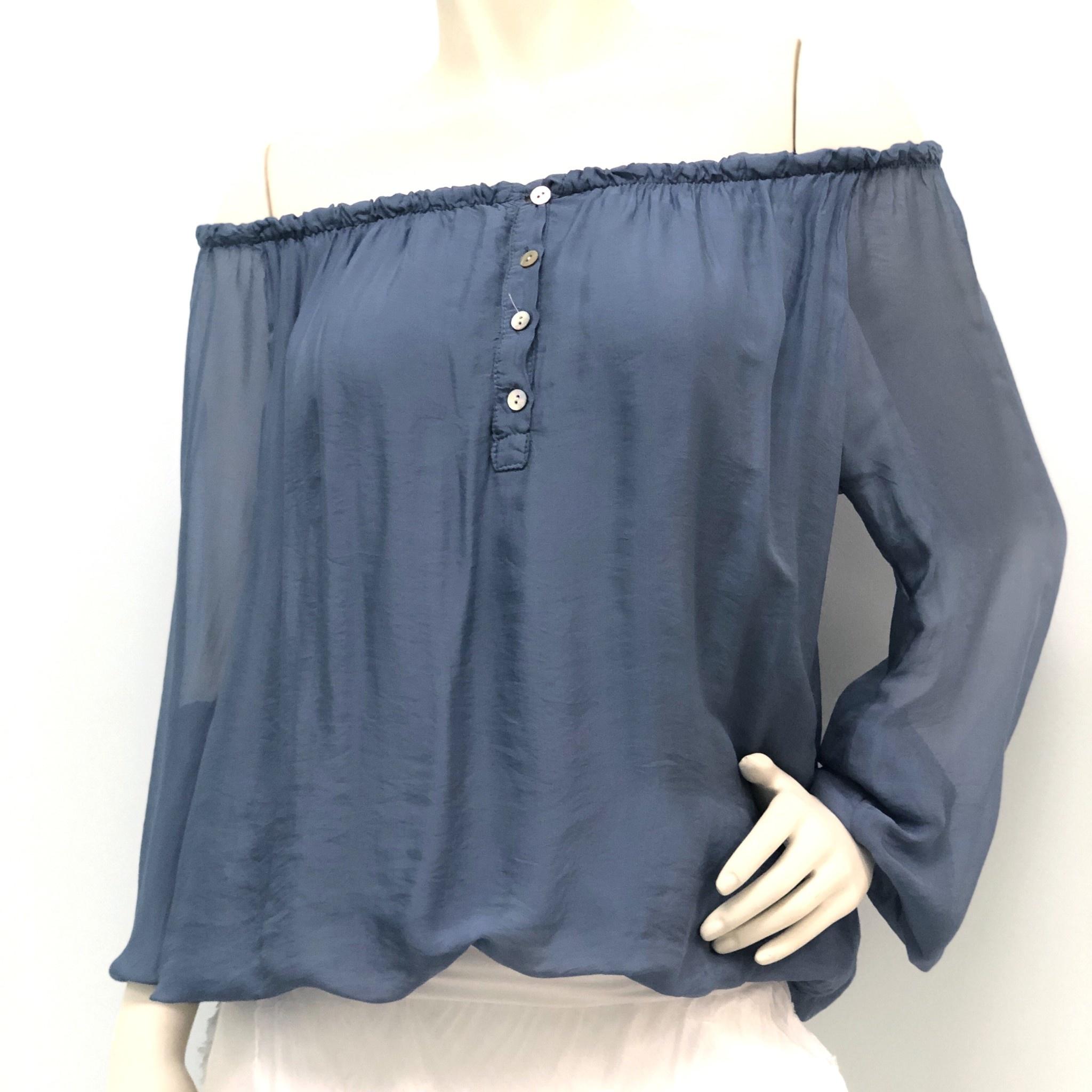 Steel Blue Off Shoulder Silk Top