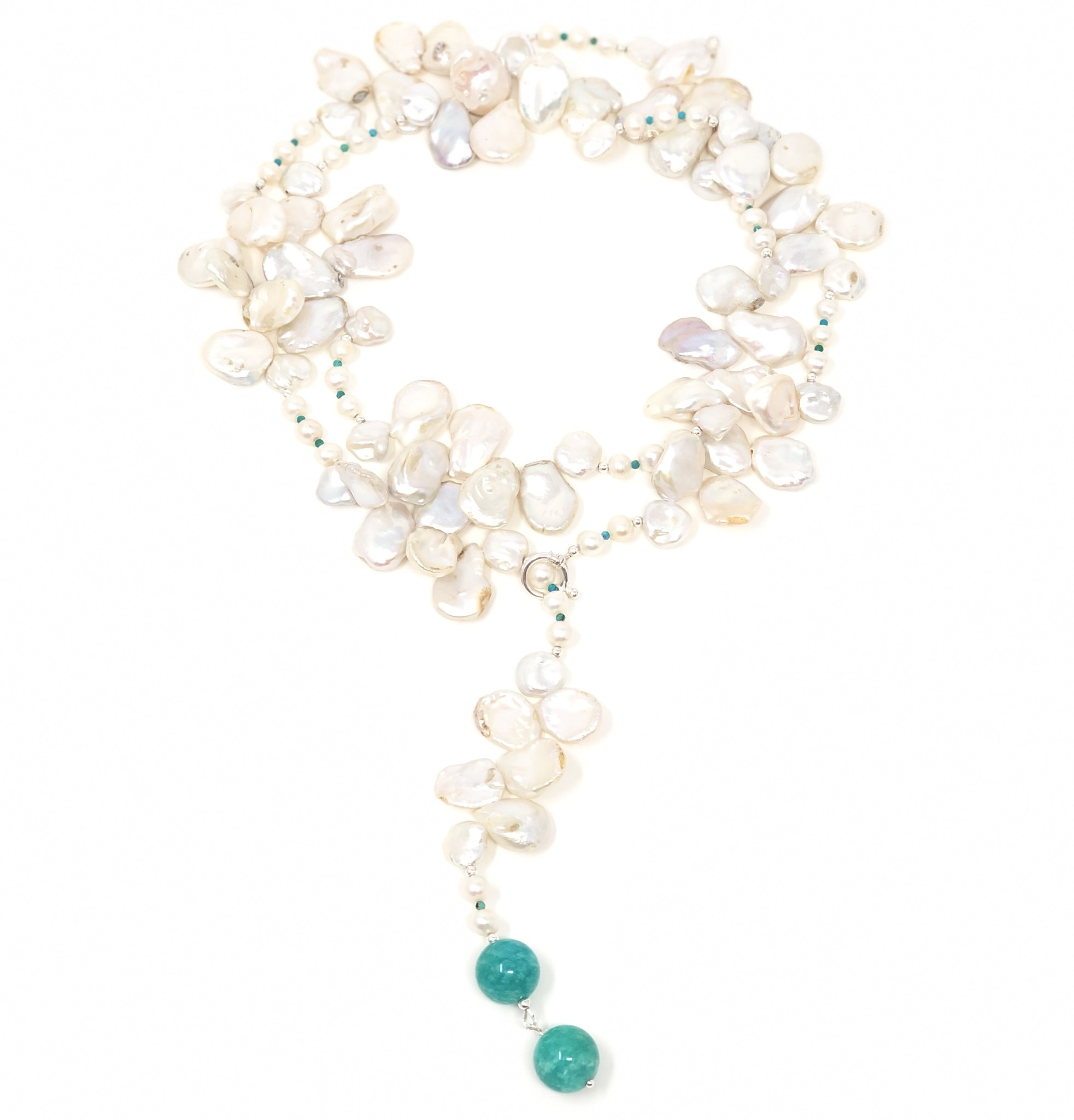 Keshi Pearl & Amazonite Lariat/Necklace