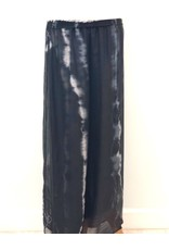Black Tie-Dye Silk Pants