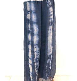 Navy Tie-Dye Silk Pants