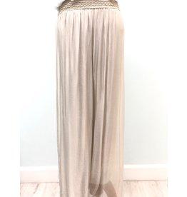 Pura Seta Elastic Beige Silk Lined Pants