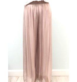 Pura Seta Elastic Blush Silk Lined Pants