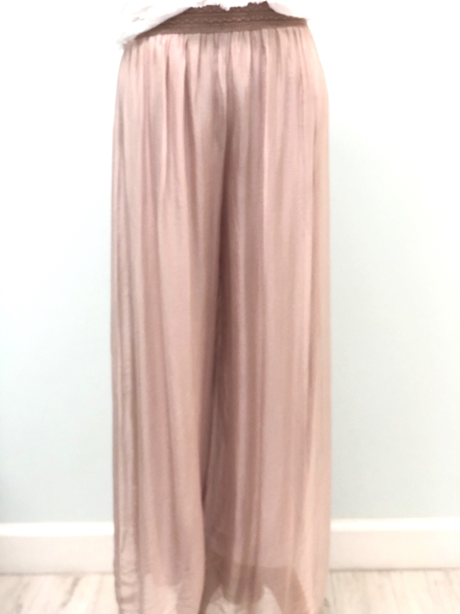 Pura Seta Elastic Blush Silk Lined Pants