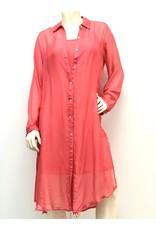 Coral Silk Shirt Dress
