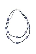 Blue Peacock & Suede Double Necklace