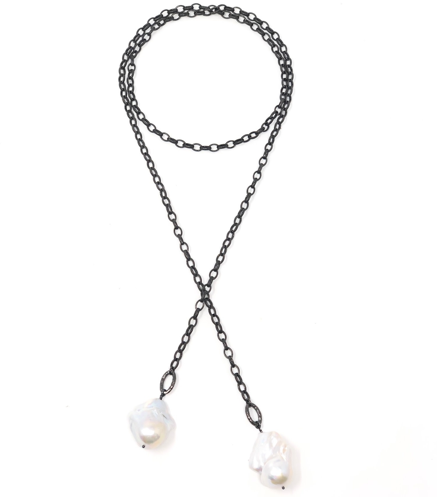 Textured Oxidized Baroque Lariat