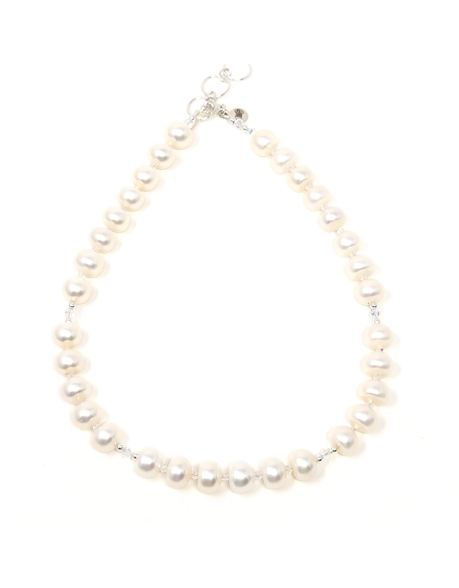 Button Pearl & Swarovski Necklace