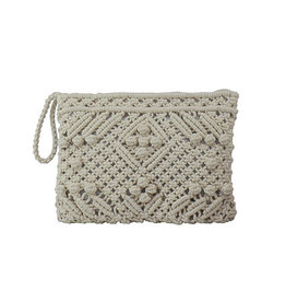 Cream Crochet Clutch