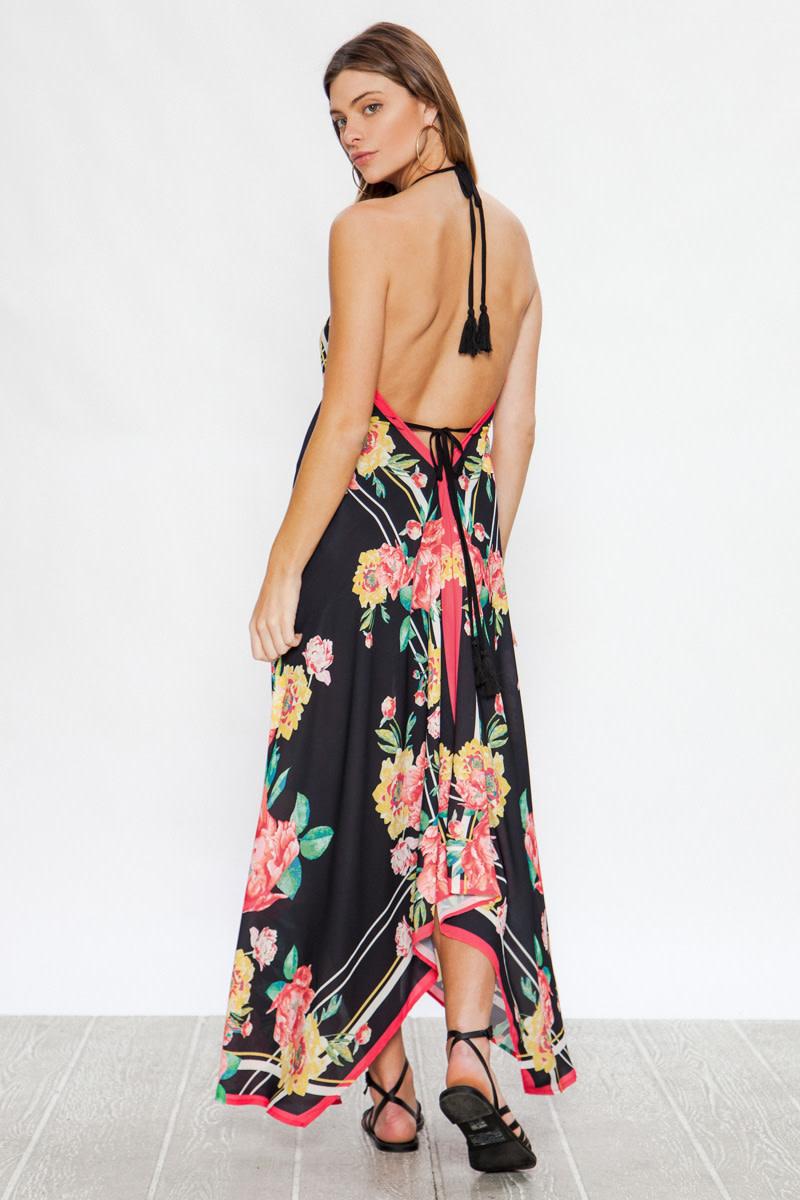 Black Floral Handkerchief Dress