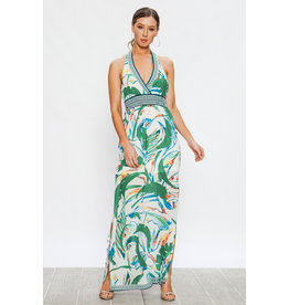 Tropical Halter Maxi Dress