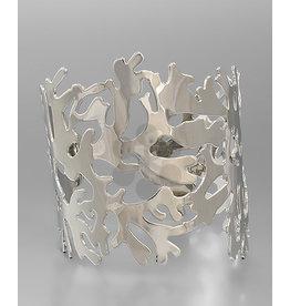 Golden Stella Silver Coral Cuff Bracelet