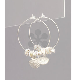 Golden Stella Shell/Pearl Hoop Earrings