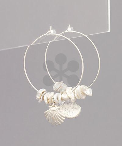 Golden Stella Shell/Pearl Hoop Earrings