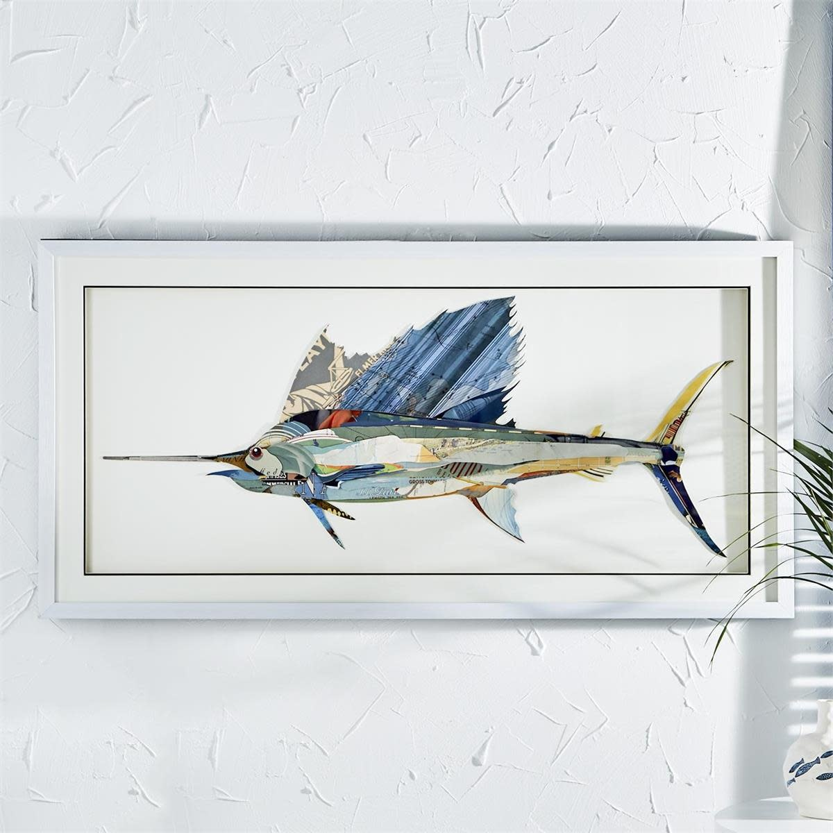Sailfish Paper Collage Wall Art