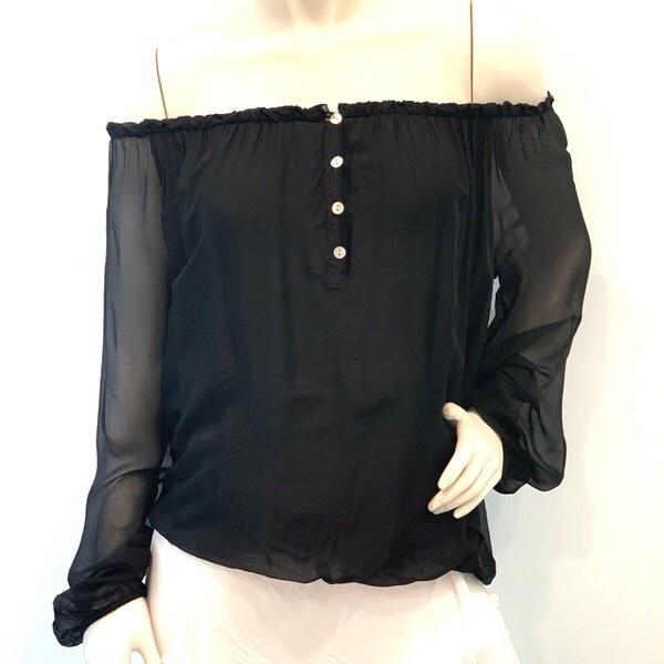 Black Off Shoulder Silk Top
