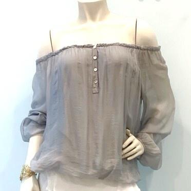 Silver Off Shoulder Silk Top